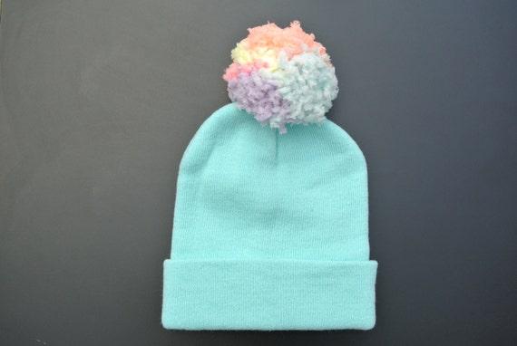 Pastel blue beanie hat with super soft multi coloured pastel  ef1469e2486