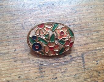 Vintage painted flower brooch