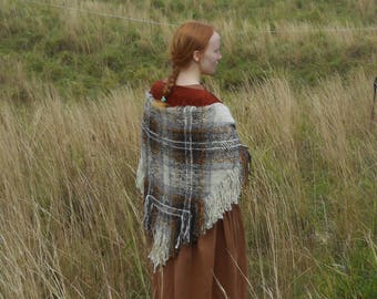 Handwoven Wool & Angora Shawl, Triangular, Natural Colors, Hand Spun Yarn, Warm and Cozy, Brown Pliad