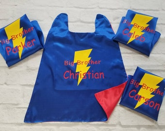 Superhero Shield cape Embroidered Big Brother Cape Personalized with Name and Initial Kids Cape