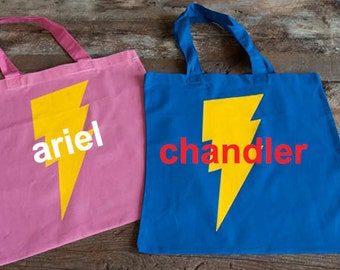 Large SUPERHERO TOTE BAG  - Personalized Super Hero Bag - Superhero Favor Bag - Superhero Bag Full Name -Quick Shipping