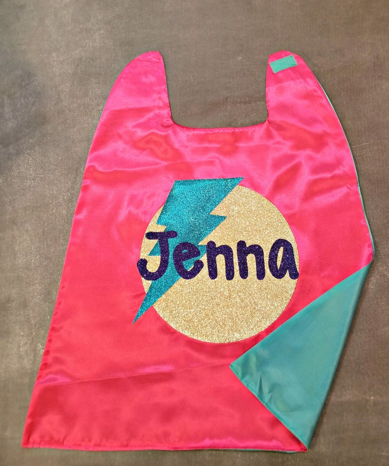 Glitter Name Capes with Circle and Bolt  Superhero Name Cape  Superhero  Girl  Superhero Boy  Girls Superhero Cape  Superhero Birthday Gift