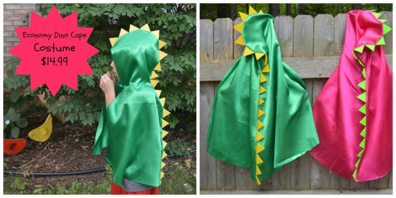 Easy costume for Halloween or dressup play Dinosaur Cape Superhero Cape with Hood Dinosaur Costume Preschool Costume