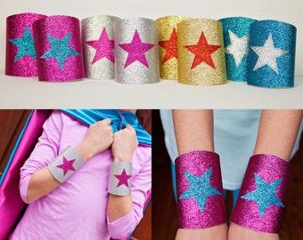 Girls Costume Accessory - Super Hero Wrist Bands - Super Hero Wrist Cuffs - Sparkle Wrist Bands - Glitter Wrist Cuffs - Quick Shipping