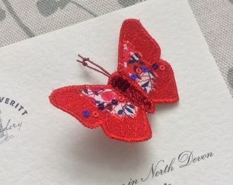 Butterfly brooch/pin Liberty Belle Gem,  red and blue tones  6cm wide.