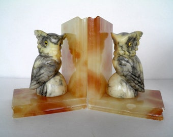 Vintage Alabaster Marble Owl Bookends Carved Italian marble