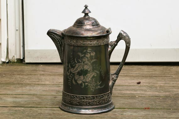 Antique Quadruple Plate Poole Silver Co Taunton Mass 1200 Etched Teapot Coffee Pot