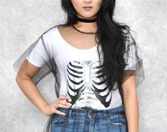 White Halloween Skeleton Bone Bodysuit e44cc7c9f18