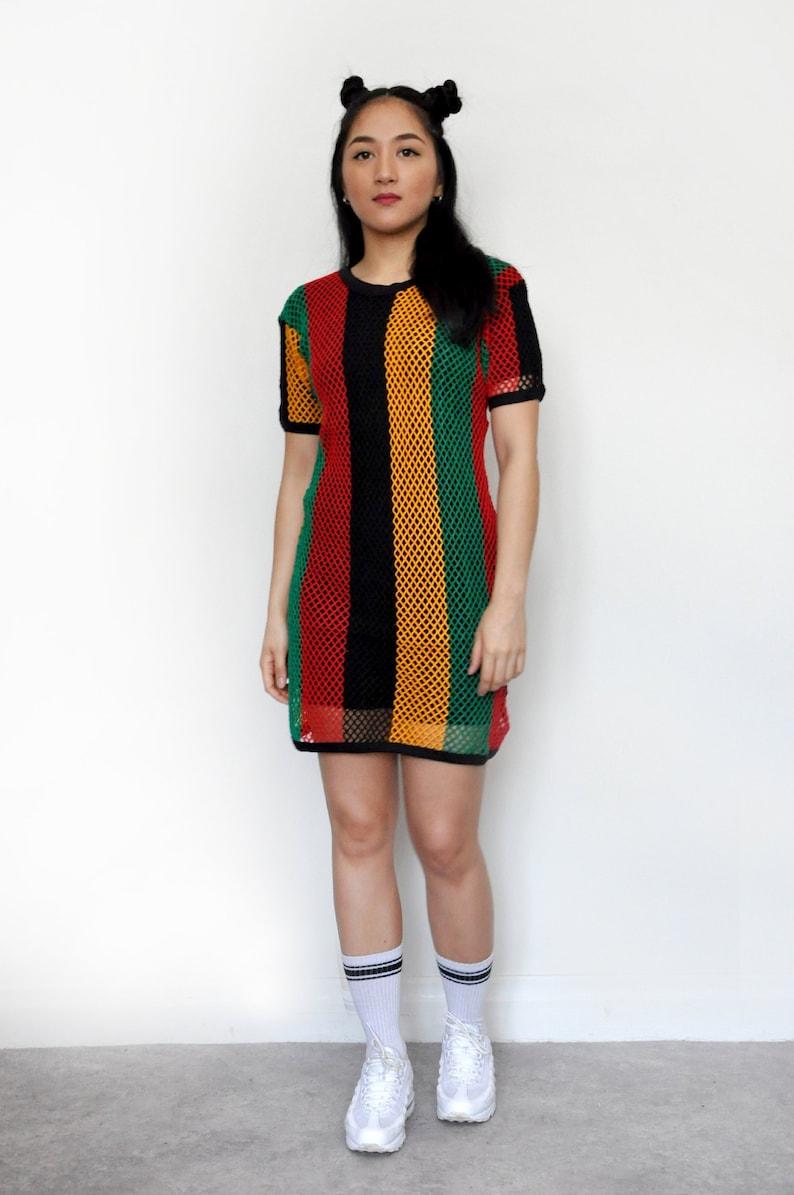 ef67678685e Rasta Multicoloured Mesh Fishnet String Festival T-shirt Dress