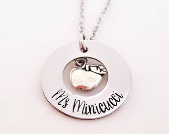 Teacher name necklace - Personalized teacher gift - Teacher Appreciation Gift - Teacher Christmas Gift - End of year teacher gift