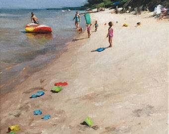 Beach Painting Summer on the Bay Original Art Acrylic