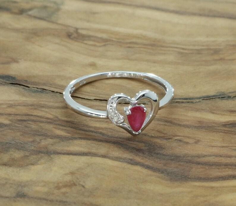 8c330fe8d3393 Genuine Ruby Ring, White Gold Ring, Red Ruby Ring, Diamond Ring, Gold Ruby  Ring, Gold Heart Ring, Simple Ruby Ring, Ruby Engagement Ring