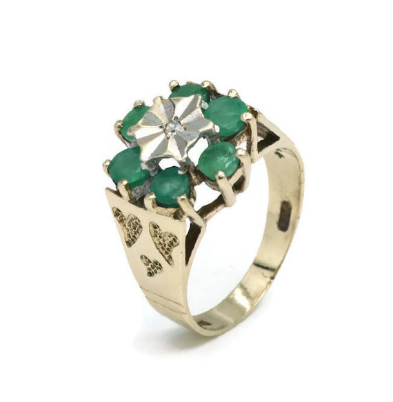 Emerald and Diamond Ring, Womens Ring, Gold Rings