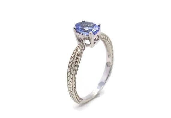 Blue Tanzanite Ring, White Gold Tanzanite Ring, Wo