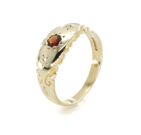 Garnet Diamond Ring, Garnet Ring, Vintage Garnet R