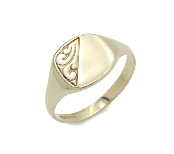 Men's Signet Ring, Gold Signet Ring, Engravable Ri