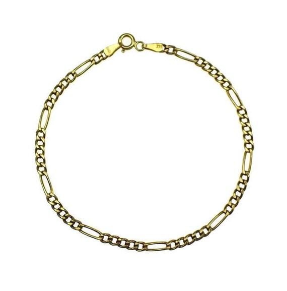 Gold Figaro Bracelet, Womens Gold Bracelet, Gold B