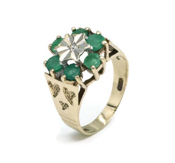 Emerald and Diamond Ring, Womens Ring, Gold Rings… - image 4