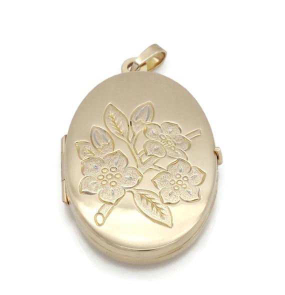 Gold Locket Pendant, Photo Locket, Vintage Locket,