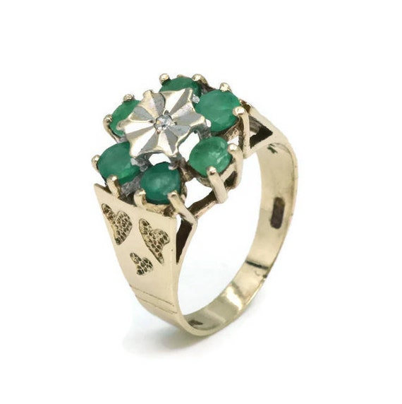 Emerald and Diamond Ring, Womens Ring, Gold Rings… - image 6