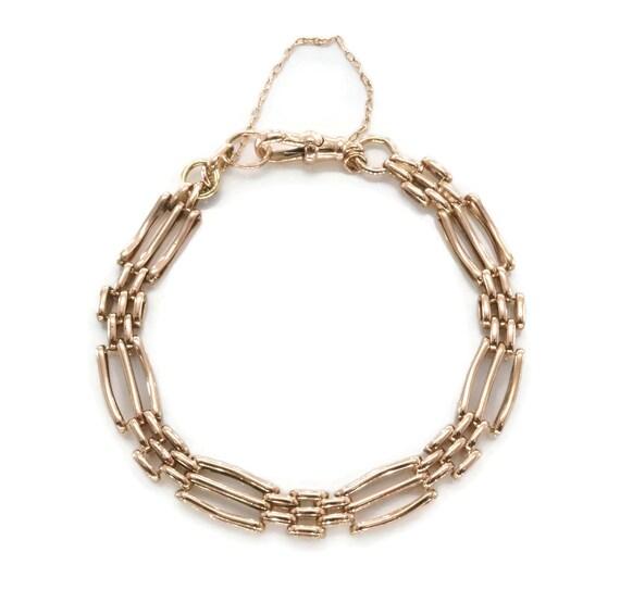 Rose Gold Bracelet, Gold Gate Bracelet, Vintage Go