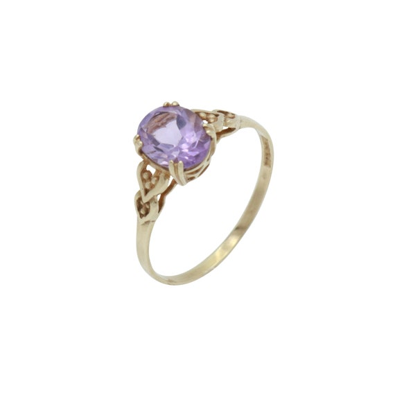 Amethyst Solitaire Ring, Purple Amethyst Ring, Ame