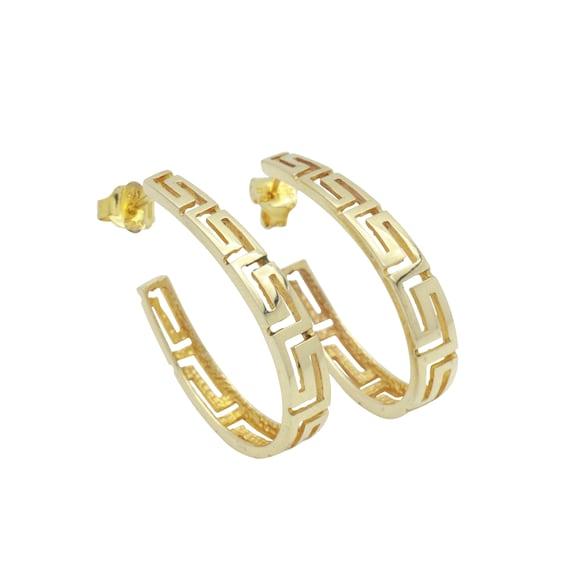 Celtic Hoop Earrings, Statement Earrings, Gold Ho… - image 2
