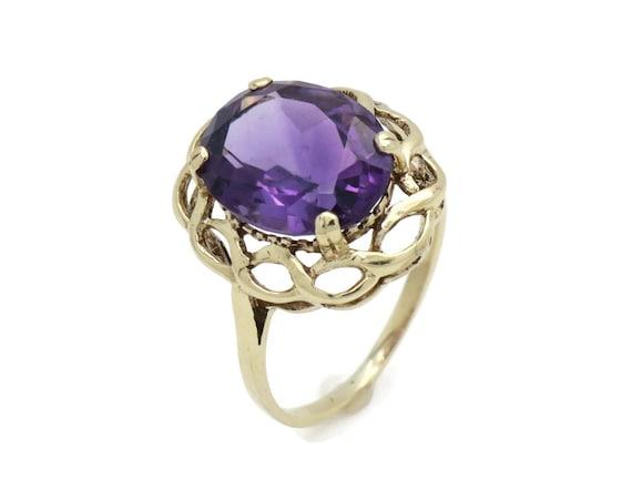 Amethyst Ring, gold gemstone ring, Statement ring,