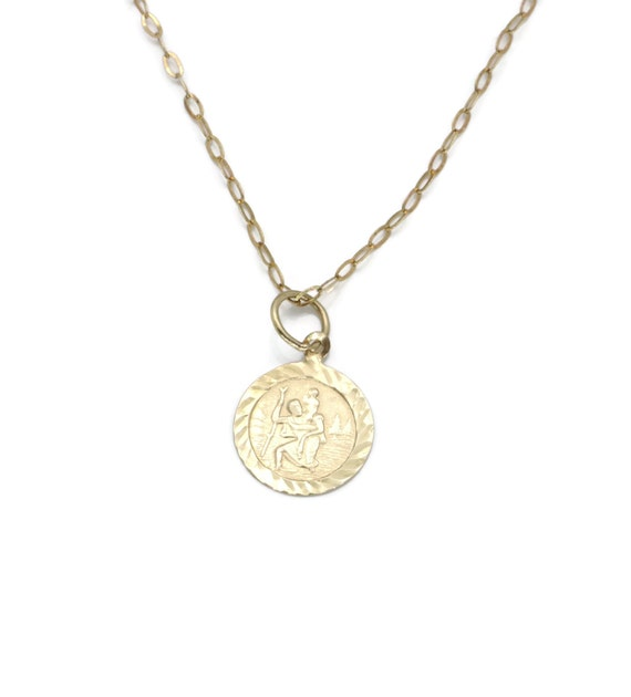 9ct Yellow Gold Round Reversible St Christopher Pendant New
