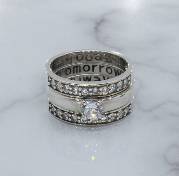 Engagement Ring Set, Bridal Ring Set, Bridal Set, Solitaire Ring, Sterling  Silver Ring, Cubic Zirconia Ring, Vintage Wedding Set