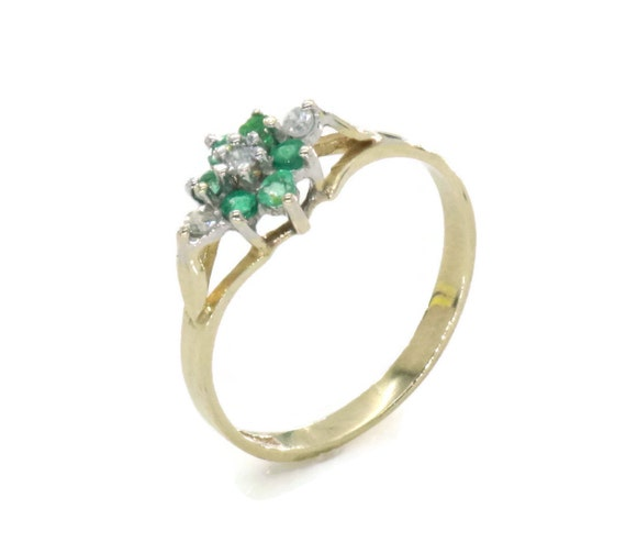 Emerald and Diamond Ring, Emerald Ring, Emerald En