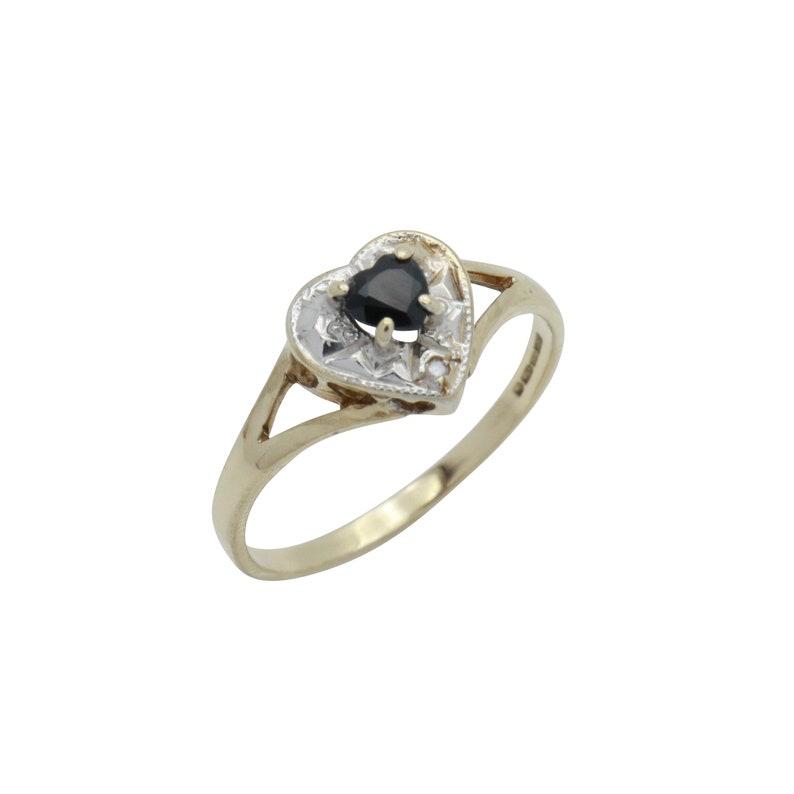 Vintage Sapphire Ring Birthstone Ring Diamond Ring Black Sapphire Sapphire Heart Ring Sapphire Birthstone Black Sapphire Ring
