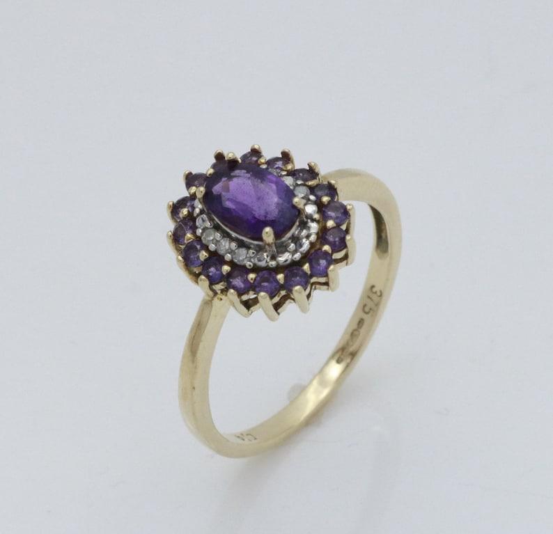 Vintage Amethyst Ring Halo Engagement Vintage Ring Vintage Diamond Ring Amethyst Halo Ring Vintage Engagement Ring Diamond Halo Ring