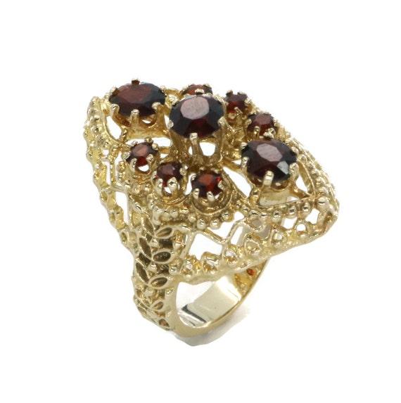 Vintage Garnet Ring, Art Deco Ring, Garnet Ring, W