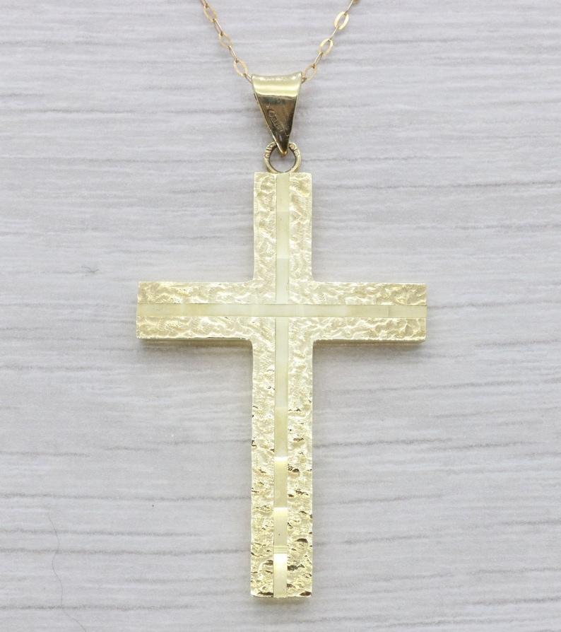 06e9b8916 Gold Cross Pendant Diamond Cut Cross Gold Cross Necklace | Etsy