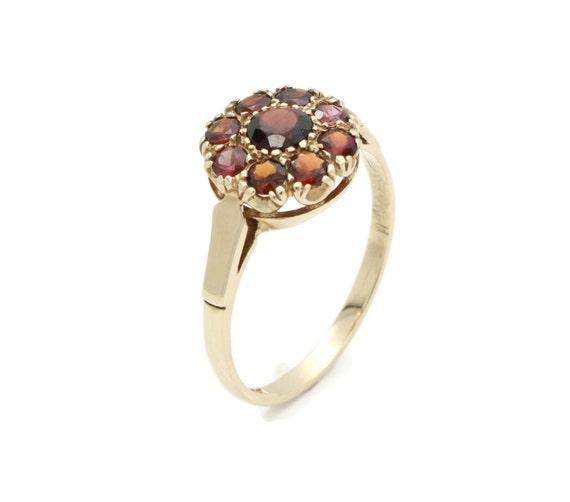 Cluster Garnet Ring, Gold Garnet Ring, Garnet Enga