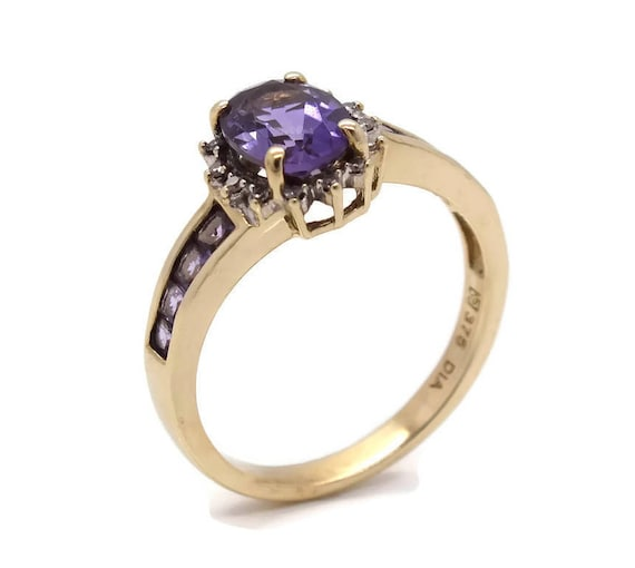 Large Amethyst Ring, Gold Amethyst Ring, Purple Am