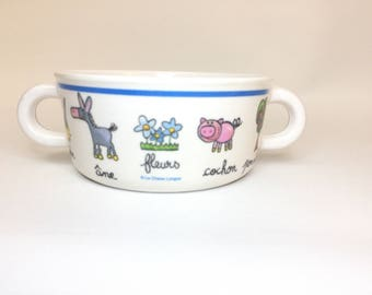 Superware Melamine Double Handle Childs Bowl With French La Chaise Longue Pictures And Words SUPER CUTE