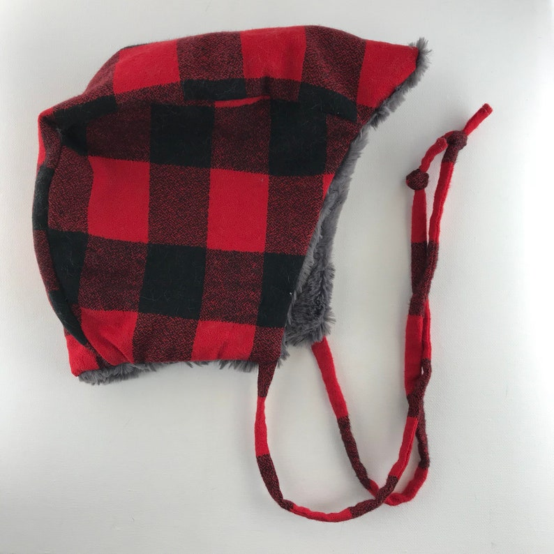 Red Buffalo Plaid Winter Hat Baby Hat Winter Hat Child image 0