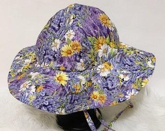 Daisies and Lavender Floral Floppy Hat, Sun Hat, Sun Bonnet, Bonnet, Beach Hat