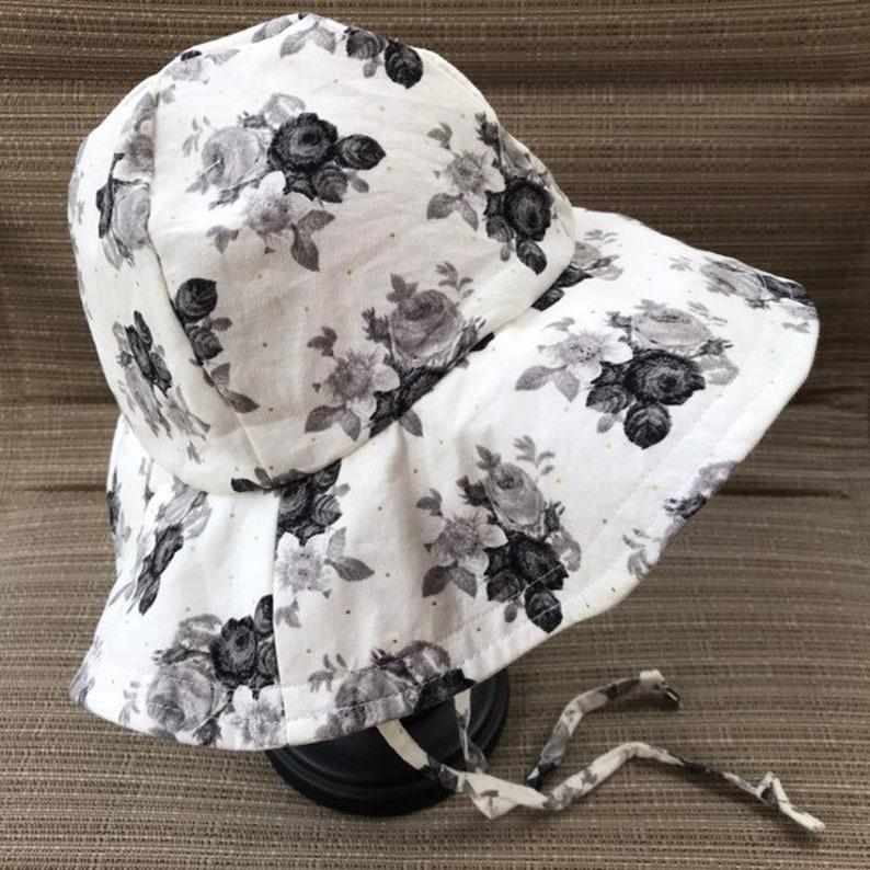 Botanical Cream Floppy Hat Sun Hat Beach Hat Baby Sun Hat image 0