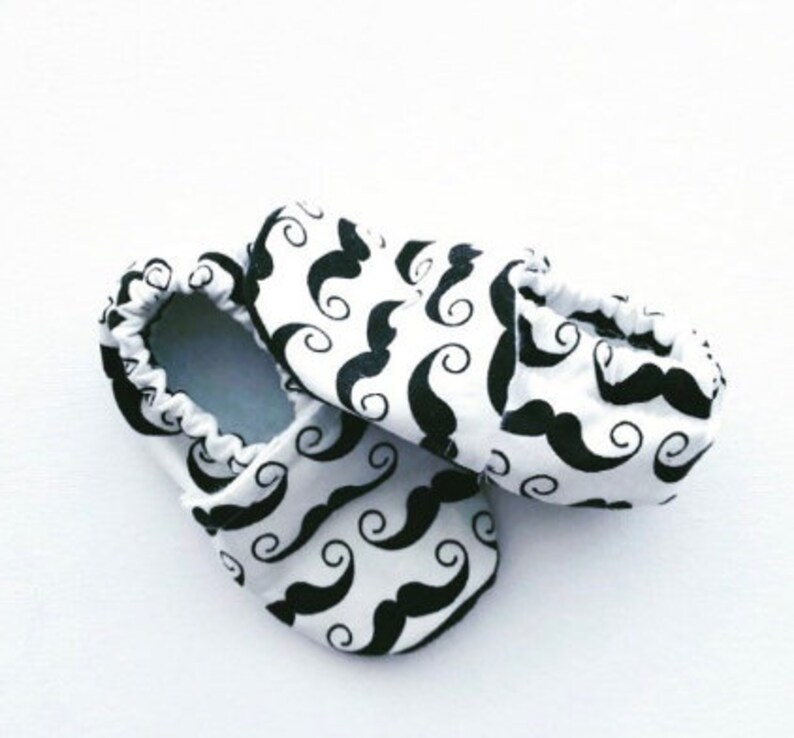 Mustache Softsole Shoes Baby Shoes Crib Shoes Slip Ons image 0