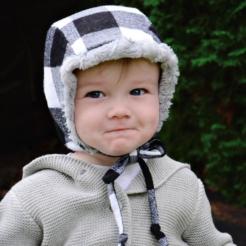 Black/white Buffalo Plaid Winter Hat Kids Winter Hat Baby image 0