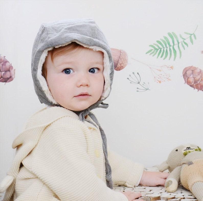 Gray Linen Winter Hat Kids Winter Hat Baby Winter Hat image 0