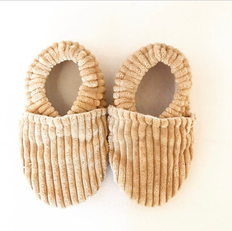 Tan Corduroy Softsole Shoes Slip Ons Crib Shoes Baby Shoes image 0