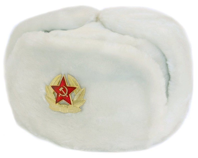 ef610b214f4 Authentic Russian Ushanka Military Hat White w  Soviet Red
