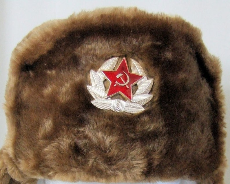 daa19be8cd9 Authentic Russian Military Camel Brown KGB Ushanka Hat W