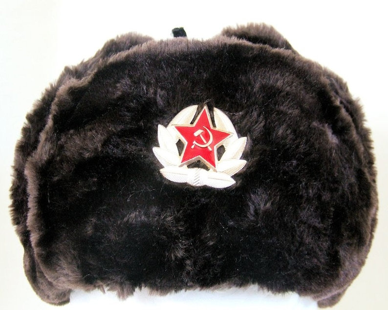 63ec1c0ec71 Authentic Russian Military Dark Brown KGB Ushanka Hat W