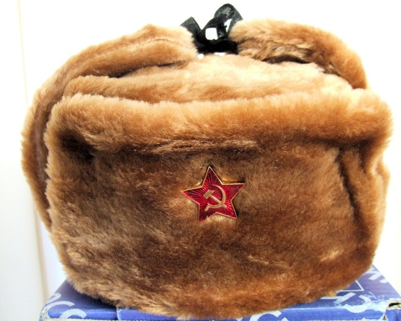 34510a538e737 Authentic Russian Military Camel Brown KGB Ushanka Hat W