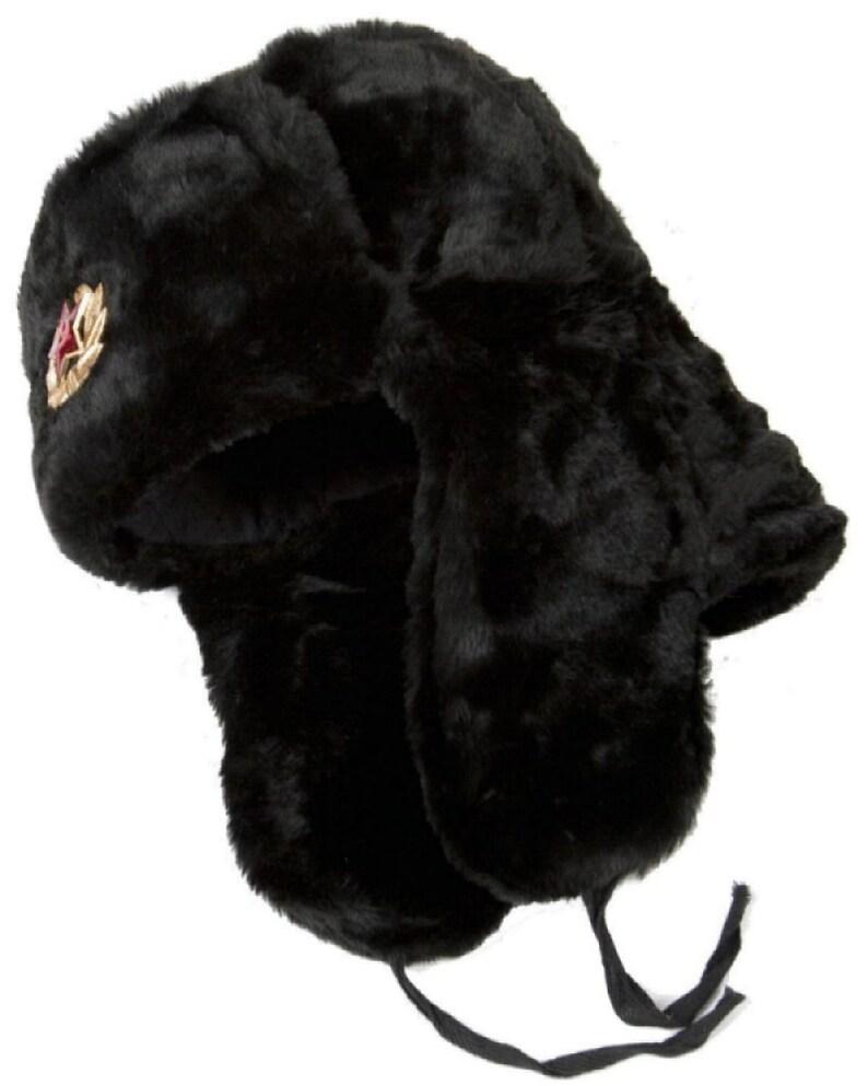 Authentic Russian Ushanka Military Hat Black w Soviet Red Army Badge Size Medium 58 cm